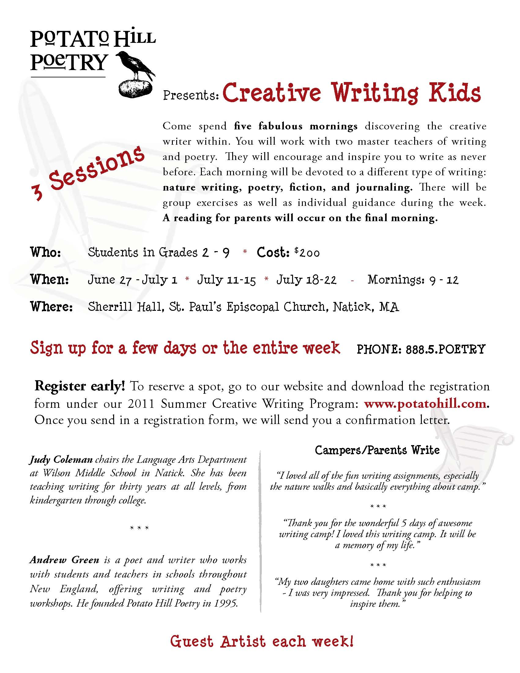 summer creative writing programs new york Participate in intensive writing workshops in creative nonfiction, memoir and the   the new york times sunday magazine, arts & letters, the normal school,.